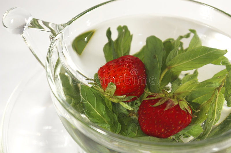 Download Tea With Mint And A Strawberry Stock Image - Image of beverage, transparent: 5371677