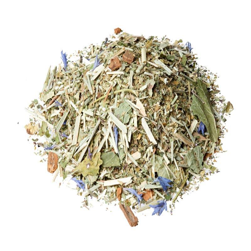 Tea mix of Honeybush, blackberry leaves, lemon grass, fresh mint royalty free stock photo