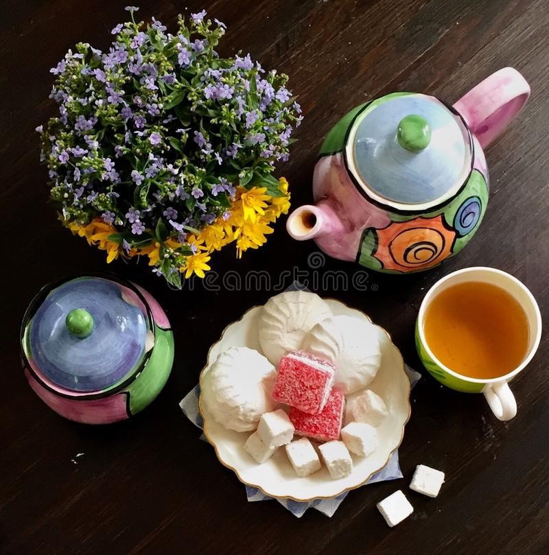 Tea in the morning with sweets stock photo