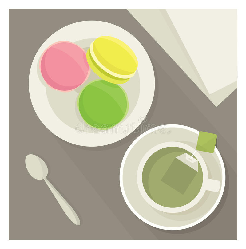Tea och macaroons också vektor för coreldrawillustration stock illustrationer