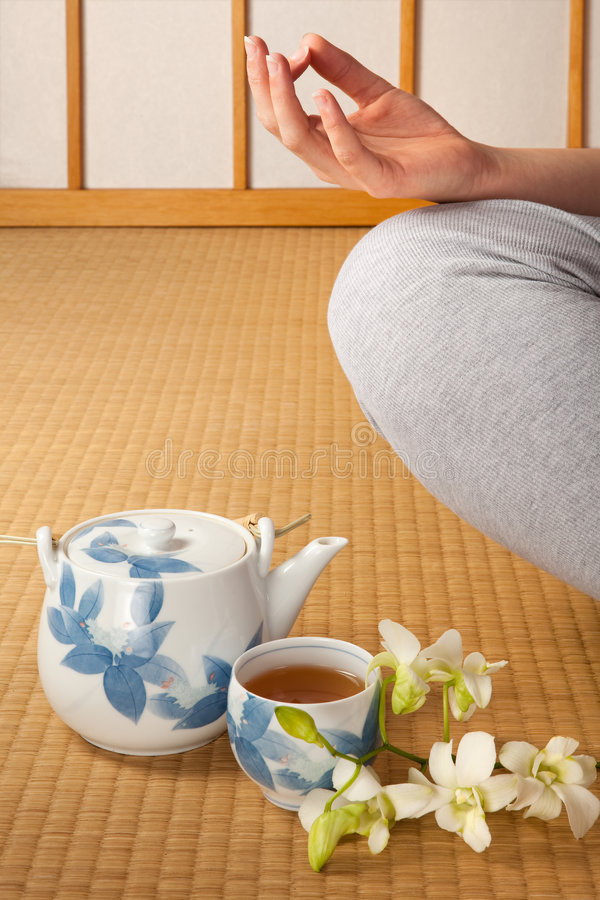 Tea orchids and meditation stock photos