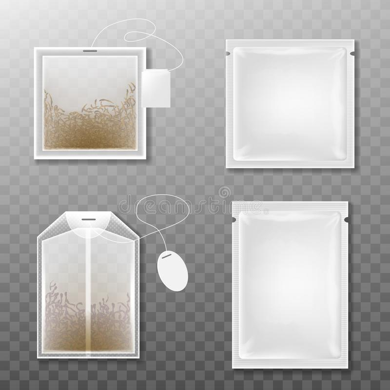 Tea packaging and tea bag isolated on transparent background. Realistic vector illustration stock illustration