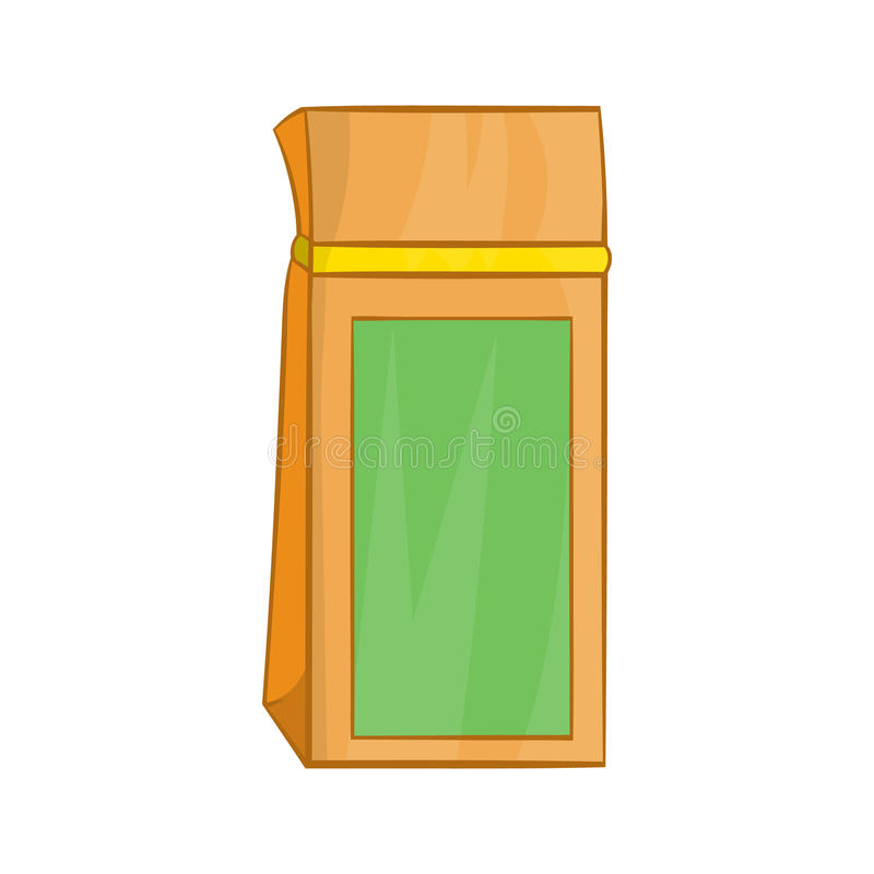 Tea packed in a paper bag icon, cartoon style. Tea packed in a paper bag icon in cartoon style on a white background vector illustration