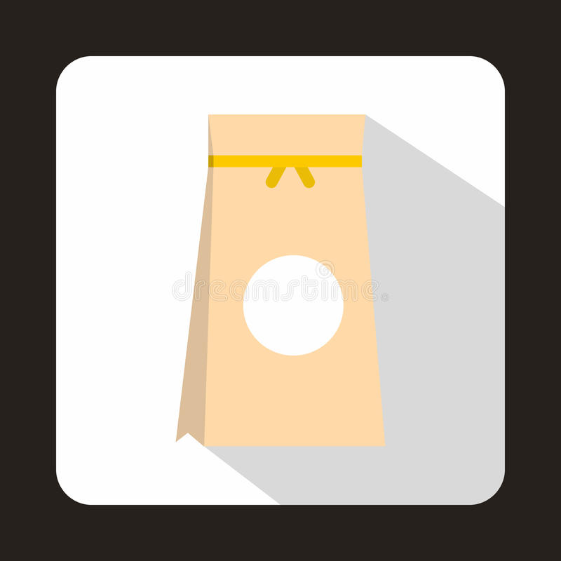 Tea packed in a paper bag icon, flat style. Tea packed in a paper bag icon in flat style on a white background stock illustration