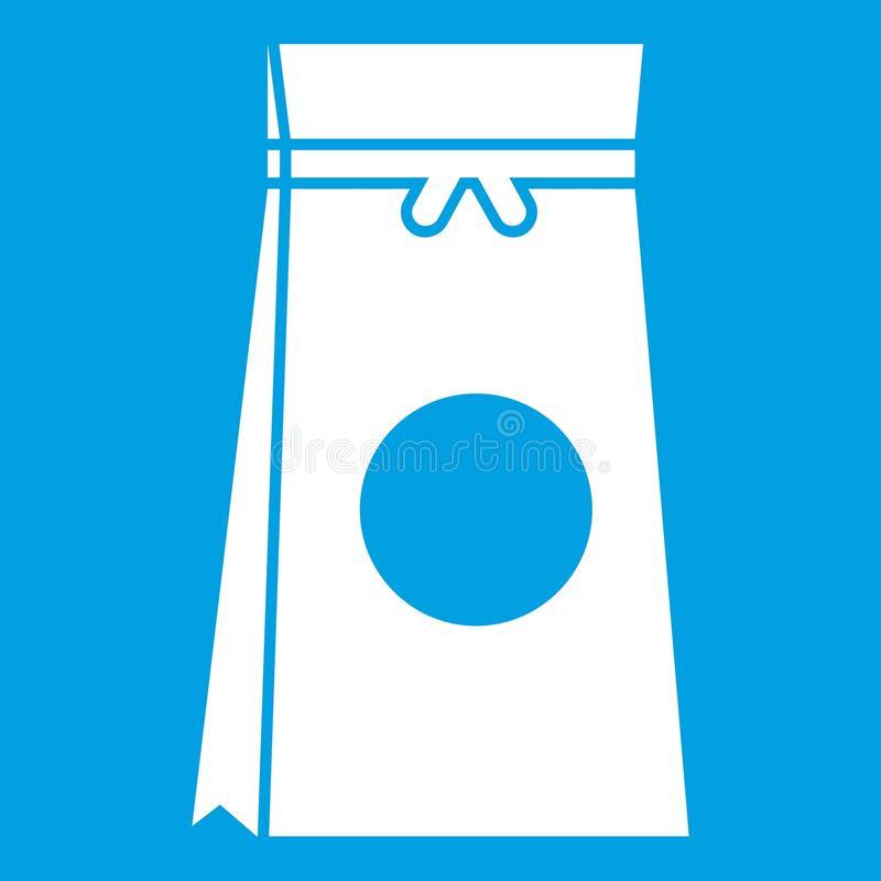 Tea packed in a paper bag icon white. Isolated on blue background vector illustration stock illustration