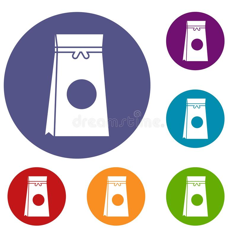 Tea packed in a paper bag icons set. In flat circle reb, blue and green color for web vector illustration