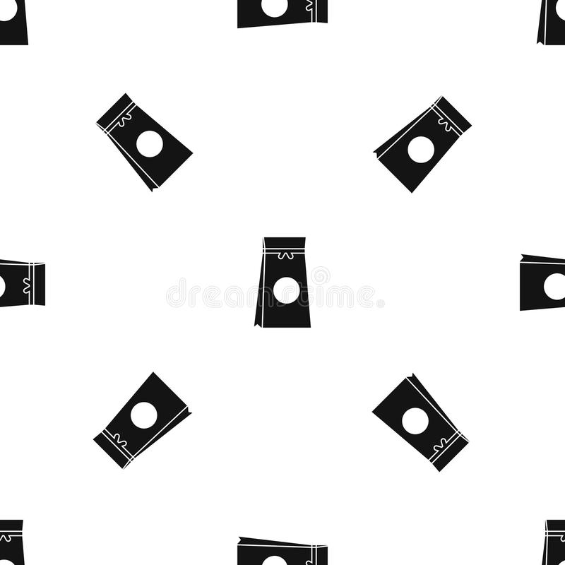 Tea packed in a paper bag pattern seamless black. Tea packed in a paper bag pattern repeat seamless in black color for any design. Vector geometric illustration stock illustration