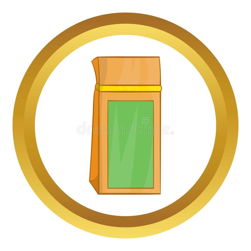 Tea packed in a paper bag vector icon. In golden circle, cartoon style isolated on white background vector illustration
