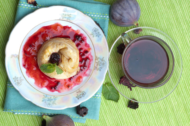 Download Tea, Pancakes With Bilberry Jam Stock Photo - Image: 17320102