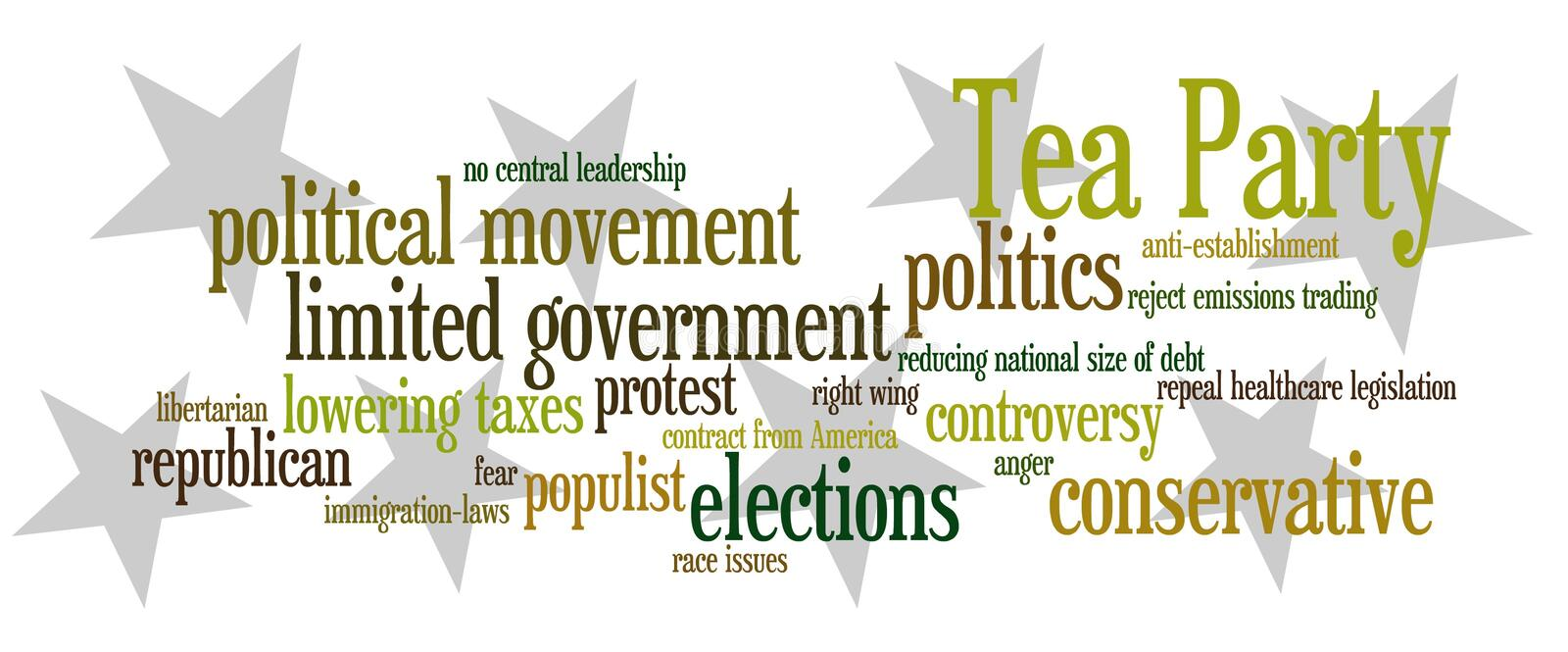 Tea Party. Important and relevant topics regarding the Tea Party, a recent political movement in the USA royalty free illustration