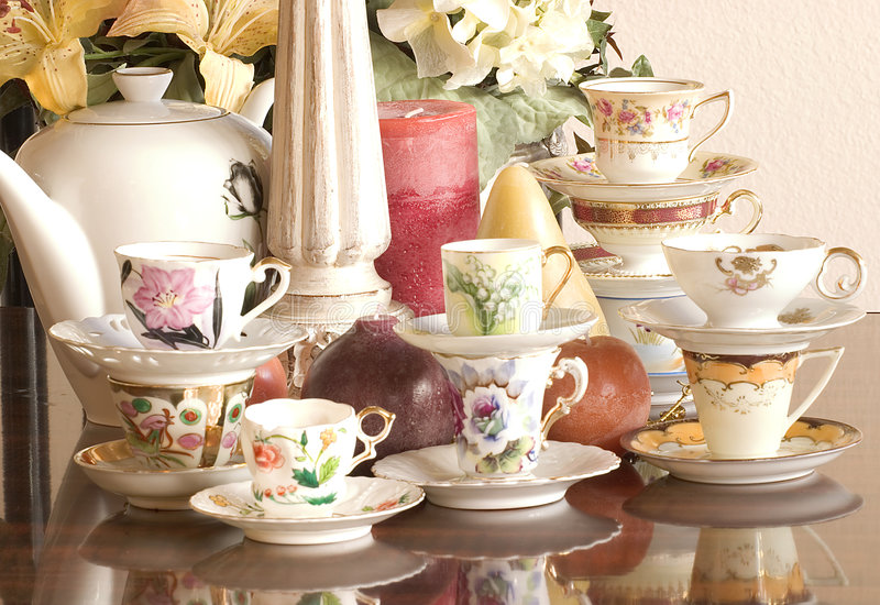 Tea Party. Vintage tea cups, tea pot, candles and flowers, just add finger sandwiches or chocolate truffles for an afternoon tea party or just use as a
