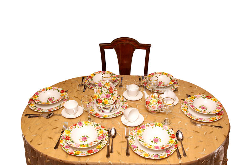 Tea party. Retro table setting with floral patern porcelain royalty free stock image