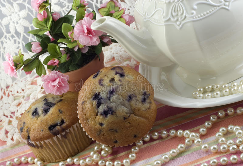 Tea Party with Blueberry Muffins royalty free stock photos