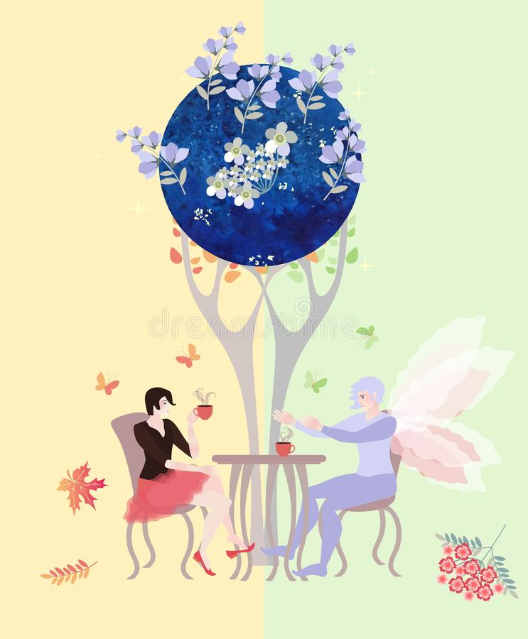 Tea party on the border of summer and autumn, on the border of real and magic world. Beautiful woman and fairy man drink tea vector illustration