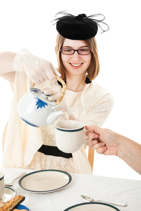 Tea party - chá adolescente dos saques fotos de stock