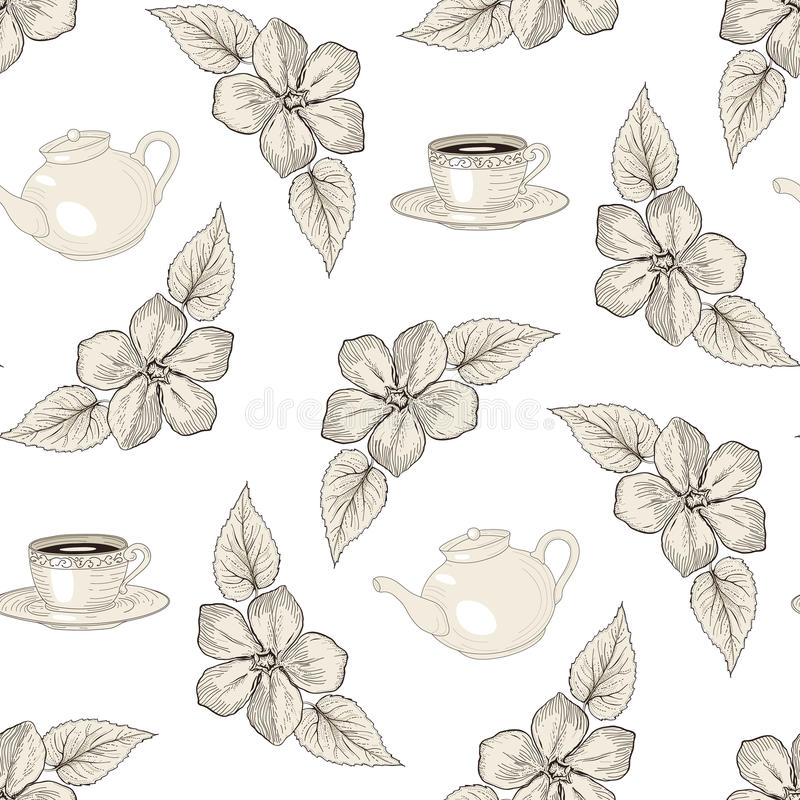 Tea party floral seamless pattern vector illustration
