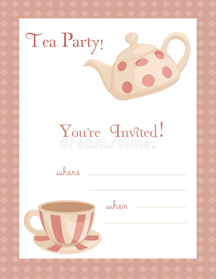 Download Tea party invitation stock vector. Image of breakfast - 14438814