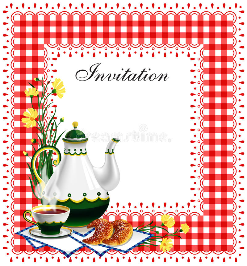 Tea party invitation royalty free illustration