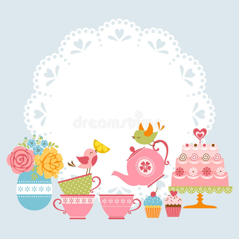 Tea party invitation. With cute birds and place for your text