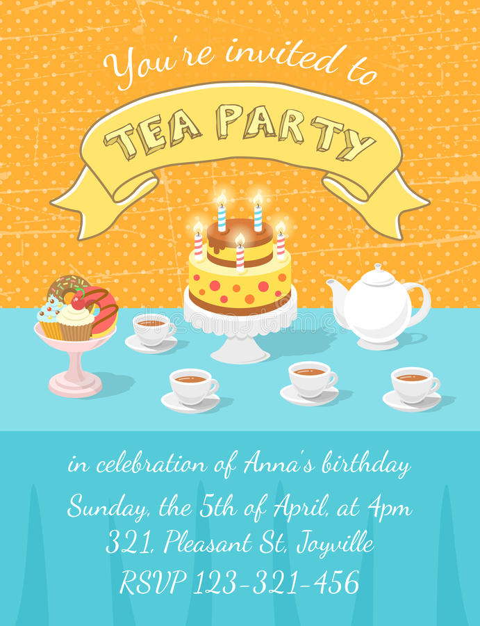 Tea Party Invitation Template Stock Vector - Illustration of card ...
