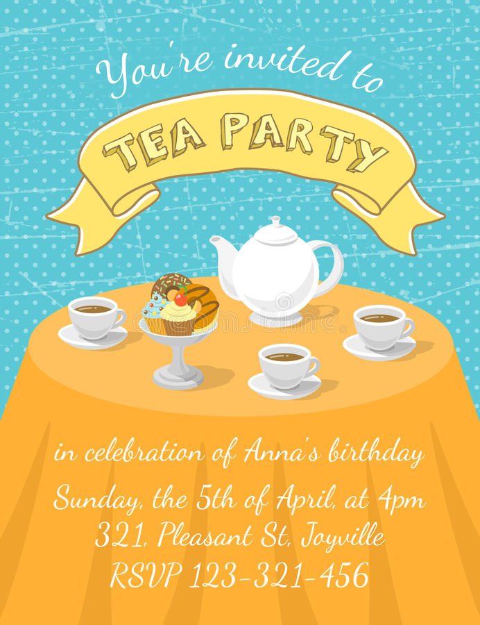 Tea Party Invitation Template Stock Vector  Illustration Of Fancy