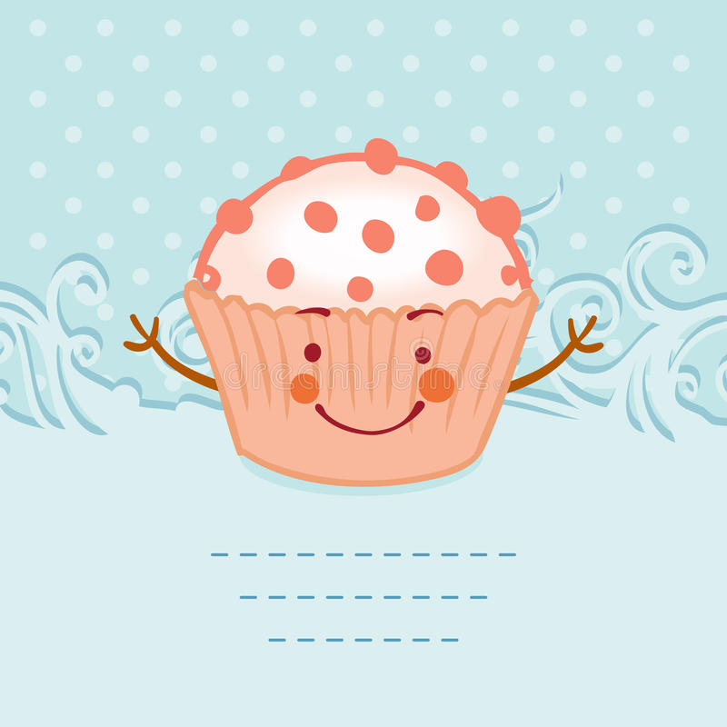 Tea Party Invitation Vintage Style Frame Funny Cupcake Stock ...