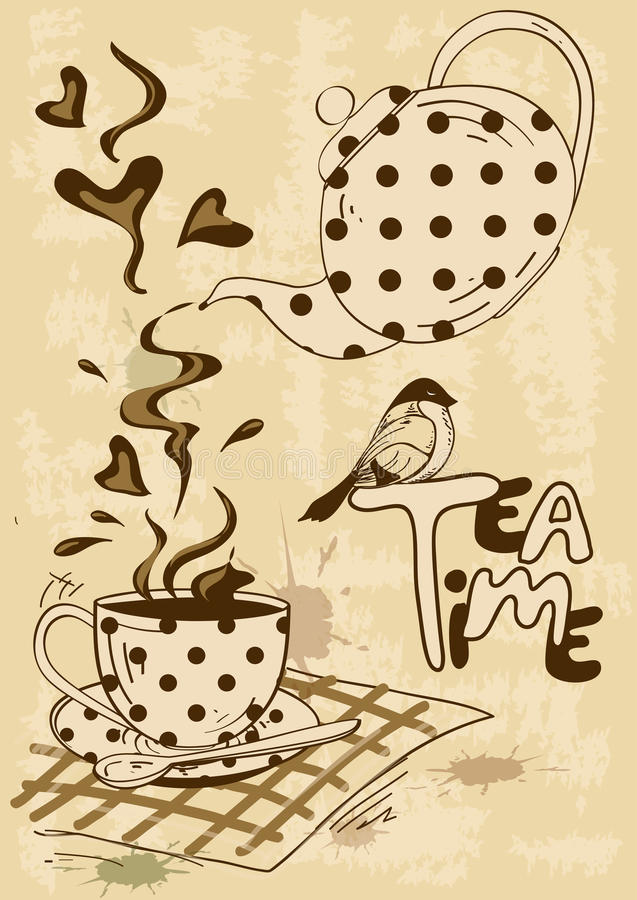 Free Tea Party Invitation With Teapot And Teacup Royalty Free Stock Photos - 36645828