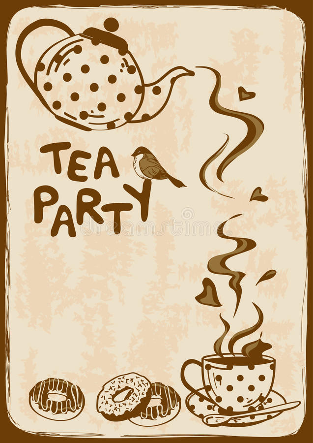 Free Tea Party Invitation With Teapot And Teacup Royalty Free Stock Images - 36645829