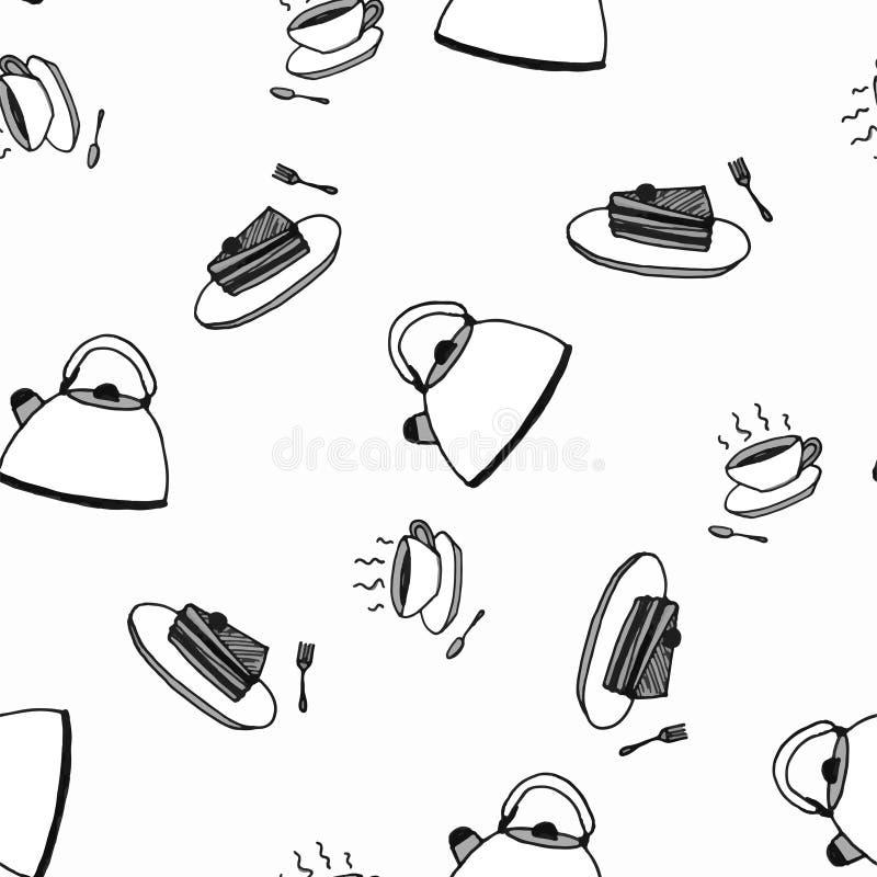 Tea Party, nahtlose Muster-Skizze Schwarzweiss lizenzfreie abbildung