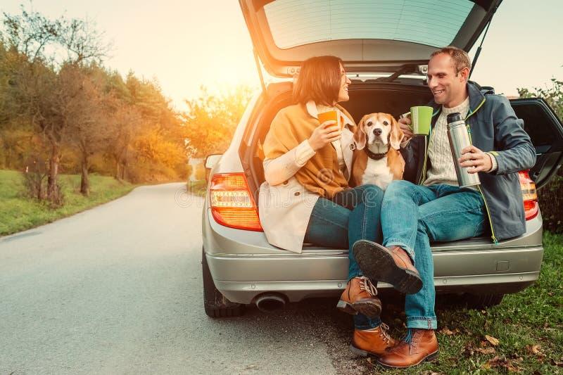 Tea party no caminhão do carro - o par loving com cão senta-se no truc do carro imagens de stock