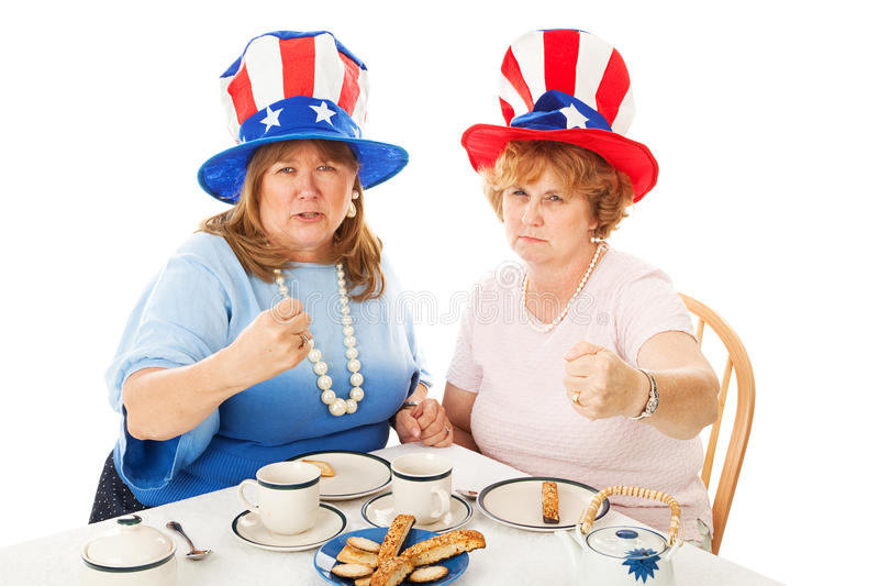 Tea Party Patriots - Fighting Mad. American conservative tea party voters, fighting mad. Isolated on white stock photography