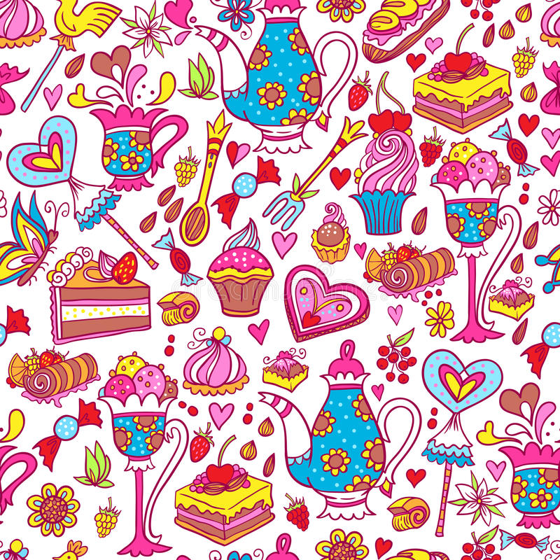 Download Tea Party Pattern Background Stock Illustration - Image: 50450513