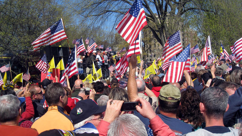 Tea Party Rally on Boston Common stock image