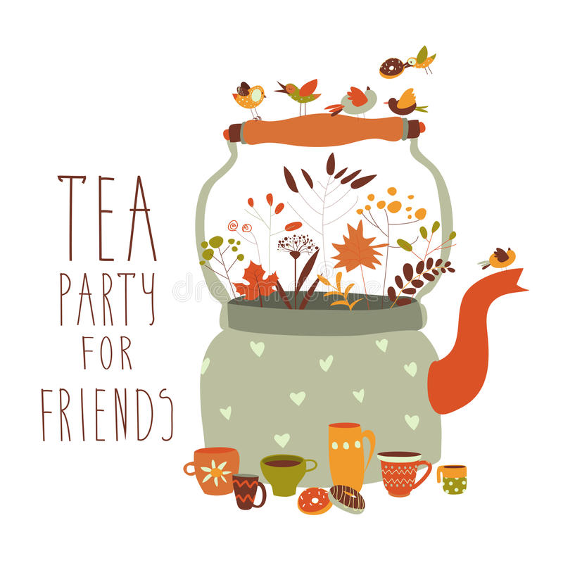 Tea party with teapot and cups. Vector illustration stock illustration