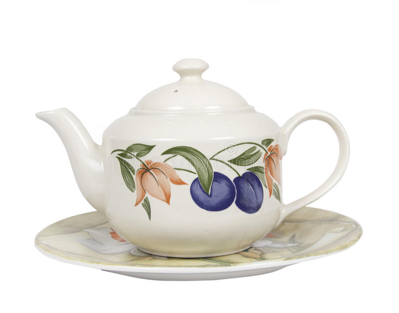 Tea pot. Porcelain tea pot isolated on white background stock images