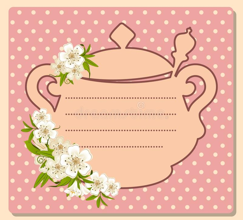 Download Tea Pot With Beautiful Flowers Stock Vector - Illustration of cappuccino, liquid: 25573126