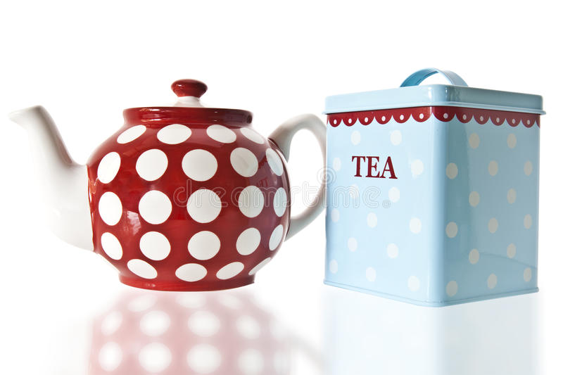 Tea Pot and Caddy. On white background stock image