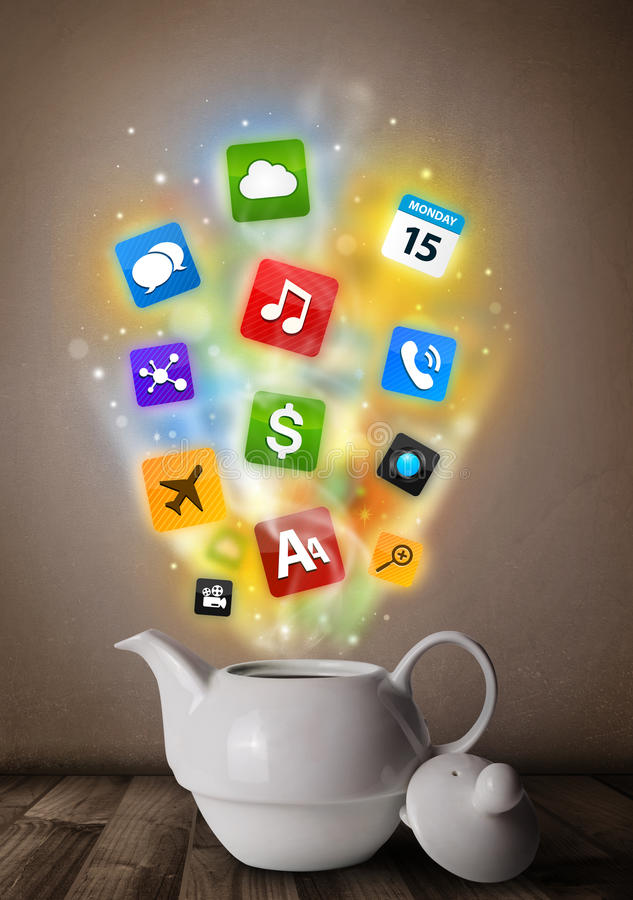Download Tea Pot With Colorful Media Icons Stock Image - Image: 38305619