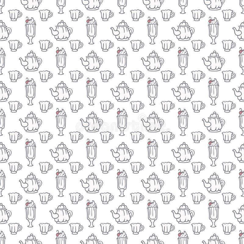 Tea pot, cups and creamy desserts background in colors of gray and pink. Tea and delights vector seamless pattern. Tea pot, cups and creamy desserts background stock illustration