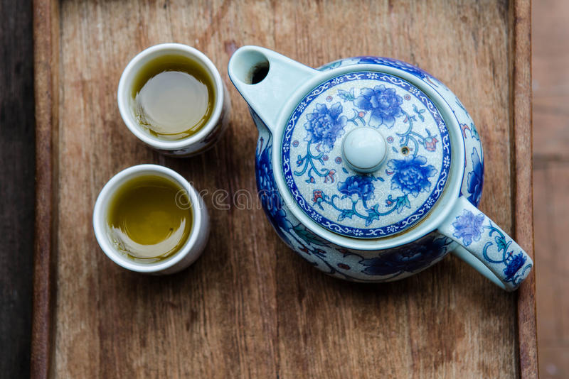 Tea pot and cups stock photo