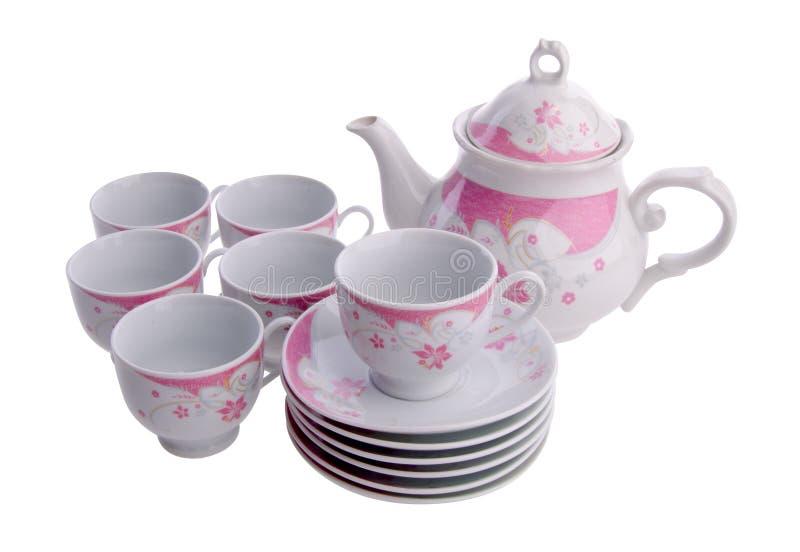 Tea pot set, Porcelain tea pot and cup. On white background royalty free stock image