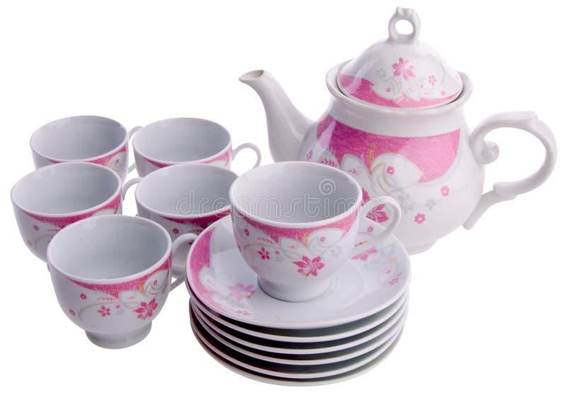 Tea pot set, Porcelain tea pot and cup on background. Tea pot set, Porcelain tea pot and cup on white background stock images