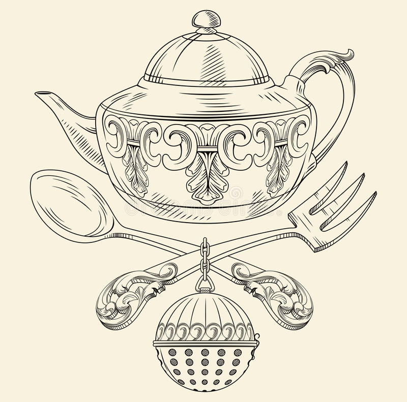 Tea pot with spoon and fork. Vintage tea pot with spoon, fork and mesh tea ball infuser vector illustration