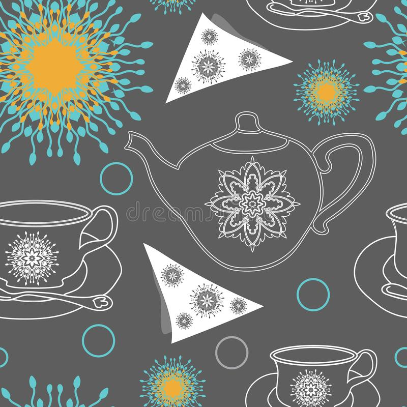 Tea Pots,TeaCups and Lace Flowers -Garden Tea Party,Repeat Pattern Swatch royalty free illustration