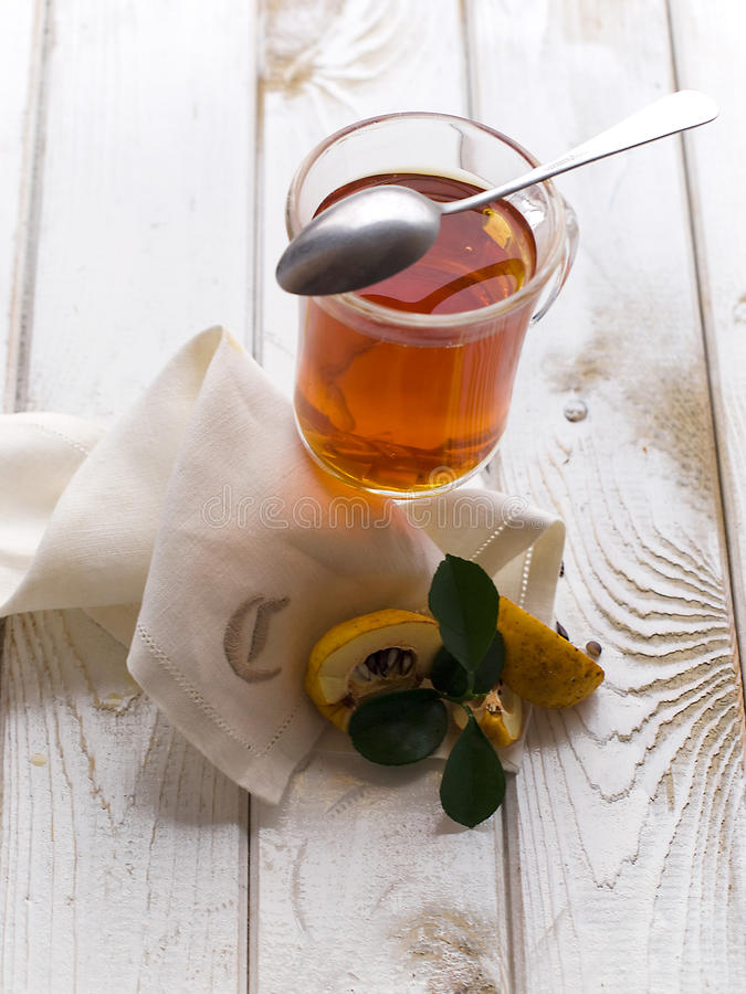 Tea And Quince Stock Photos