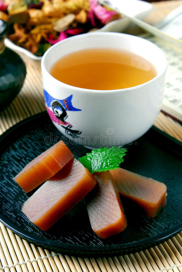 Tea and red bean jelly. Tea time-Tea and red bean jelly stock images