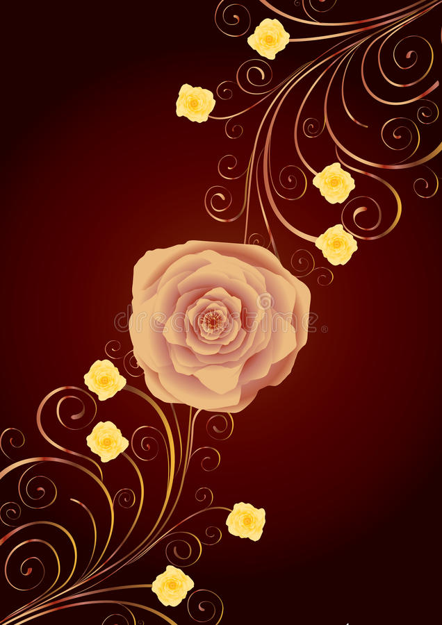 Tea-rose and gold curls. On brown background, additional stock illustration