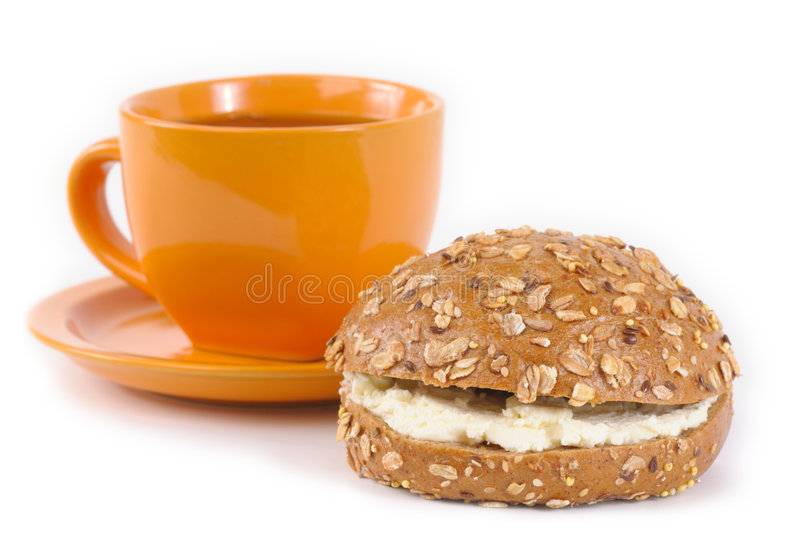 Tea and sandwich stock photography