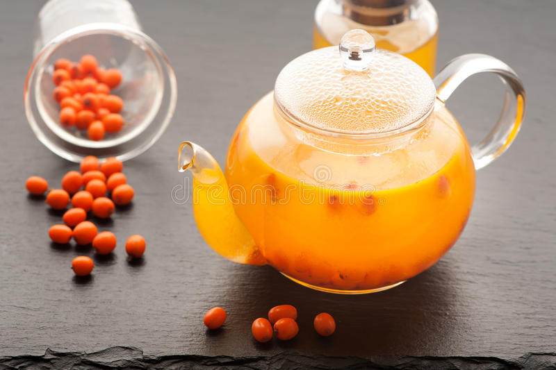 Tea with sea buckthorn royalty free stock images