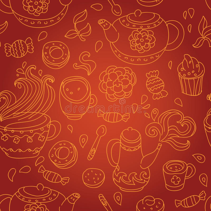Download Tea seamless pattern stock vector. Image of fabric, beige - 21826332